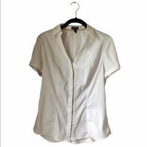 Express White Short Sleeve Stretch Button-Down Top